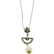 Diamond and Cultured Pearl Art Deco Necklace