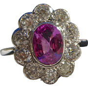 A Magnificent Vintage Natural Pink Sapphire and Diamond Cluster Ring