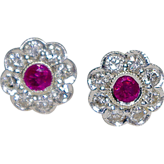 A Vintage Pair Of Ruby And Diamond Stud Earrings