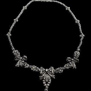 A Magnificent Antique Edwardian Diamond Bow Necklace