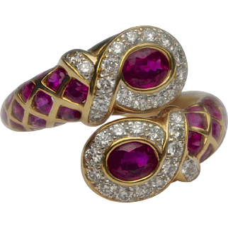 A Vintage 1970's Crossover Ruby and Diamond Ring