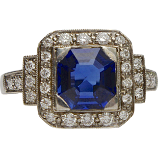 A Vintage Art Deco Natural Sapphire and Diamond Set in Platinum