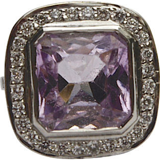 A Large Vintage Kunzite and Diamond Ring