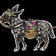 An Antique Victorian Diamond Donkey Brooch Pin