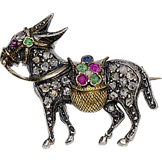 An Antique Victorian Diamond Donkey Brooch Pin