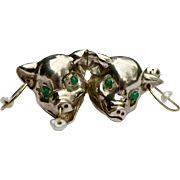 A Vintage Silver Tragedy and Comedy Mask of Piglets Pin Brooch