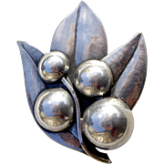 A Vintage Signed Georg Jensen Arts & Crafts  Silver Leaf and Berry Brooch Pin