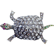 An Antique Victorian Diamond Turtle Brooch Pin
