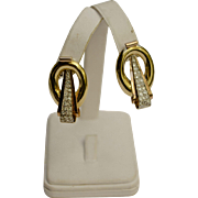 A Vintage Pair of 18KT Gold and Diamond Drop Earrings