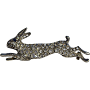 A Victorian Diamond Racing Rabbit Brooch Pin