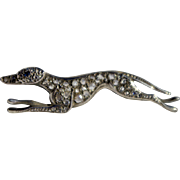 Victorian diamond and sapphire coursing Greyhound brooch