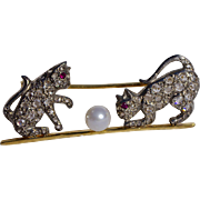 An Edwardian Diamond & Gold Cat and Ball Brooch Pin