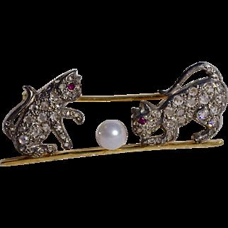 An Edwardian Diamond & Gold Cat and Ball Brooch Pin