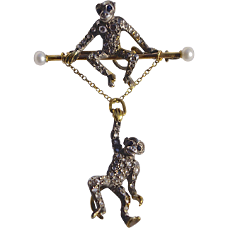 Antique Victorian Diamond Swinging Monkeys  Brooch