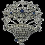 1940s Sapphire and Diamond Brooch