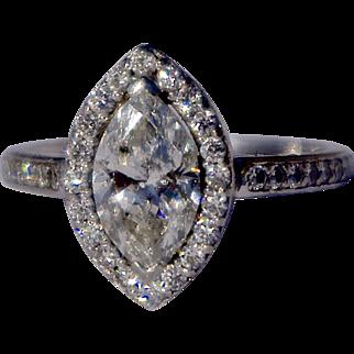 A Vintage 1.46 carat Certified  Diamond Platinum Ring