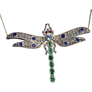 A Spectacular Antique Dragonfly Necklace