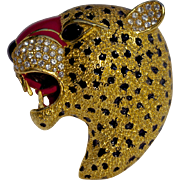 Rare Enamel Roaring Panther Head Brooch Pin Signed Ciner