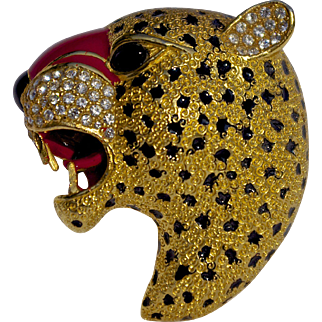 Rare Enamel Roaring Panther Head Brooch Pin Signed Ciner