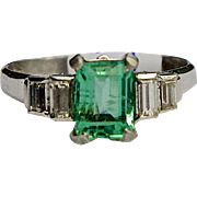 A Vintage Columbian Emerald and Diamond Ring