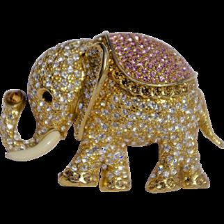 A Vintage singed 'Ciner' Rhinestone Crystal Elephant Brooch Pin