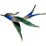 A Vintage Signed Trifari Enamelled Flying Swallow Bird Brooch Pin