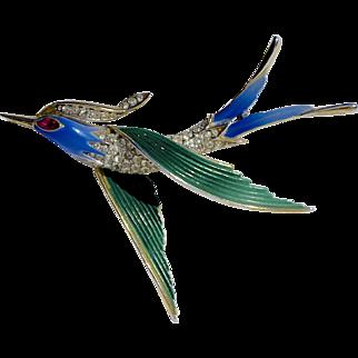 A Vintage Signed Trifari Enamelled Flying Swallow Bird Brooch Pin