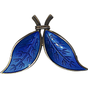 A Vintage Signed David Andersen Norway Blue Enamel Leaf Brooch Pin