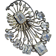 A Huge Vintage Eisenberg Original Sterling Silver & Crystals Fur Clip Brooch Pin