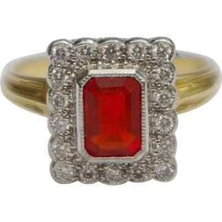 A Vintage Fire Opal and Diamond Ring
