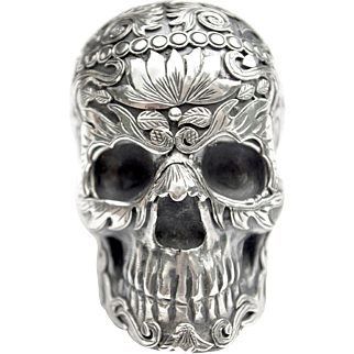 A Vintage Mexican Silver 'Day of the Dead' Skull Ornament
