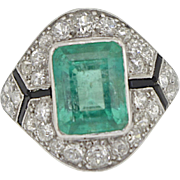 An Exceptional Art Deco Columbian Emerald & Diamond Ring