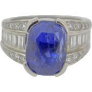 A Natural 10.59 Carat Sapphire and Diamond Ring