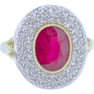 A Burmese Ruby and Diamond Ring