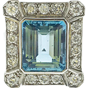 Aqua Marine and Diamond Ring