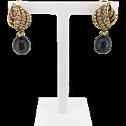 1970s Diamond and Tahitian Pearl Drop Earrings