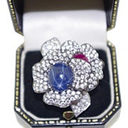 Diamond, Star Sapphire and Ruby Flower Ring