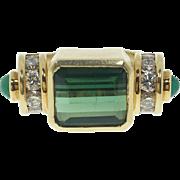 1940s Tourmaline and Diamond Ring