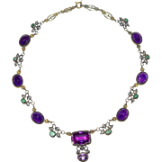 An Austro Hungarian Antique Carved Amethyst Emerald Diamond and Tourmaline Necklace