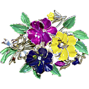 "A Vintage signed 'Exquisite"" Pansy Brooch Pin from the Birthday Collection"