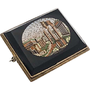 An Antique Victorian Grand Tour Micro Mosaic Brooch Pin