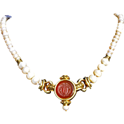 19th Century Carnelian Intaglio Pendant and Cultured Pearl Necklace