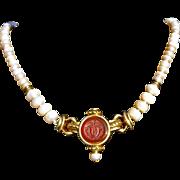 19th Century Carnelian Intaglio Pendant and Cultured Pearl Necklace