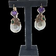 South Sea Pearl and Amethyst Drop Earrings