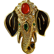 A Vintage signed Attwood & Sawyer Jewels of India Moghul Elephant Figural Brooch