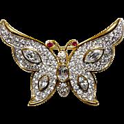 A Vintage Rhinestone Crystal Butterfly brooch Signed Attwood & Sawyer