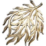 A Vintage 1950's Signed Trifari Gold Tone Coral Branch Brooch Pin