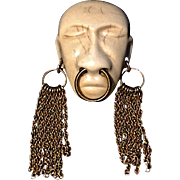A Vintage 1938 Signed Joseff of Hollywood 'Headhunter' African Face Mask With Golden Earrings Brooch Pin