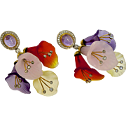 A Pair of Vintage Art Deco Frosted Rock Crystal & Diamond Flower Drop Earrings set in 18KT Gold