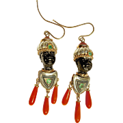 A Pair of Antique Drop Blackamoor Earrings in Coral and Gold